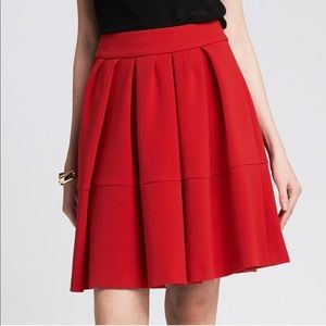 Banana Republic Red Pleated Full Skirt